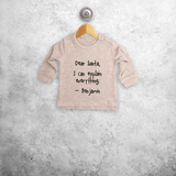 Baby or toddler sweater, with 'Santa, I can explain everything' print by KMLeon.