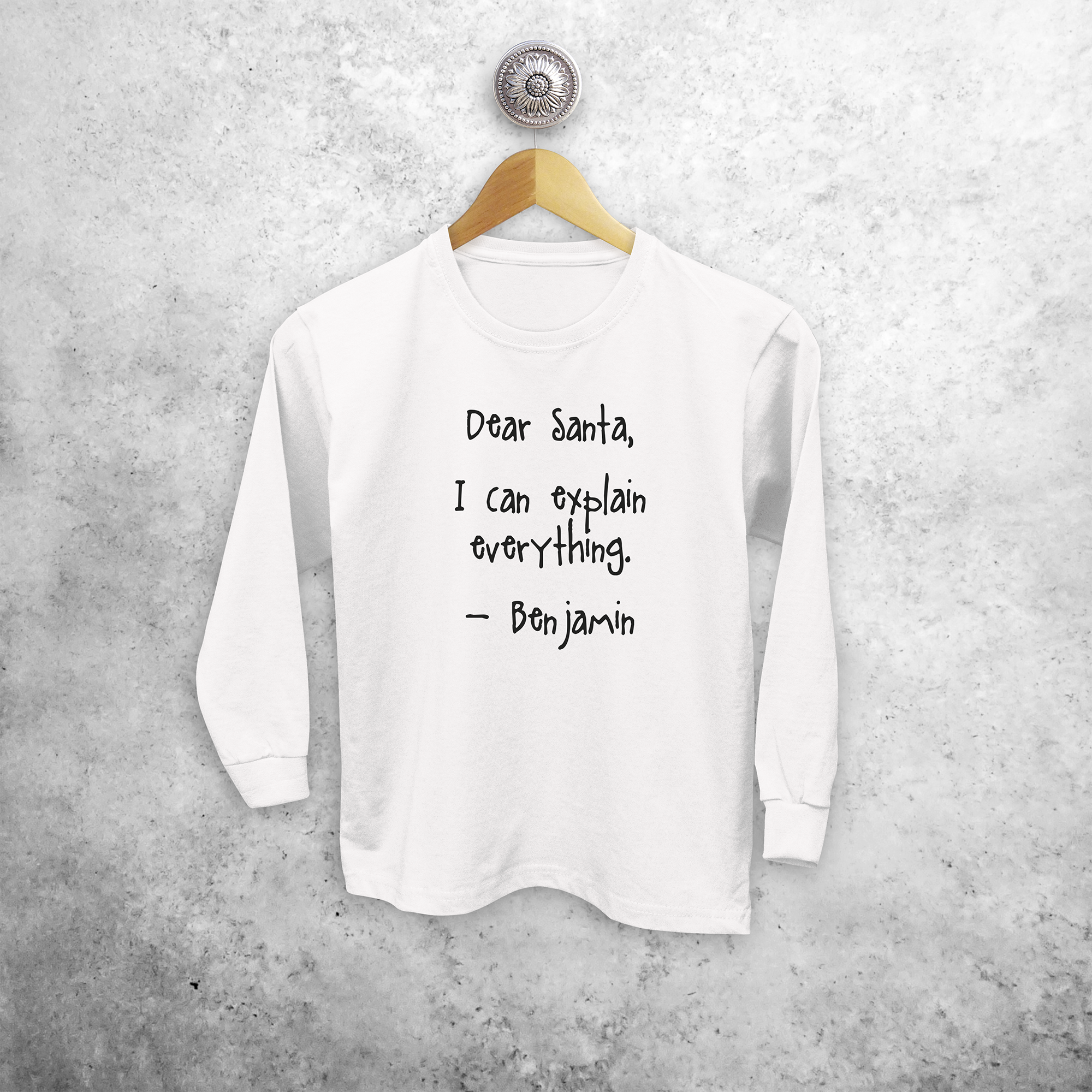 Kids shirt with long sleeves, with 'Santa, I can explain everything' print by KMLeon.