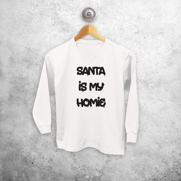 'Santa is my homie' kids longsleeve shirt