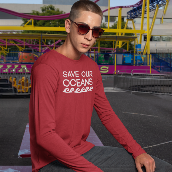 'Save our oceans' adult longsleeve shirt