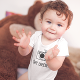 'Say Cheese' baby shortsleeve bodysuit