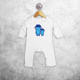 Blue sheep baby romper