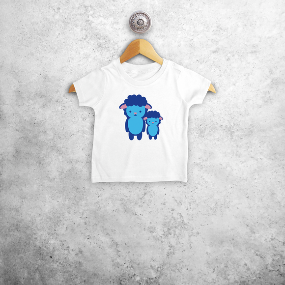 Blue sheep baby shortsleeve shirt