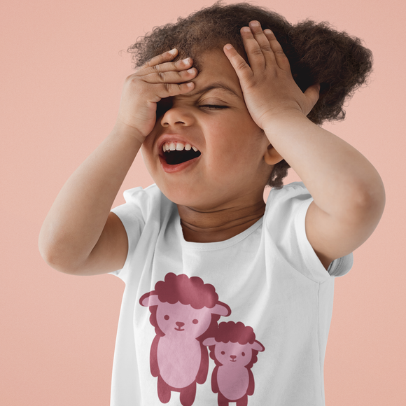 Pink sheep kids shortsleeve shirt