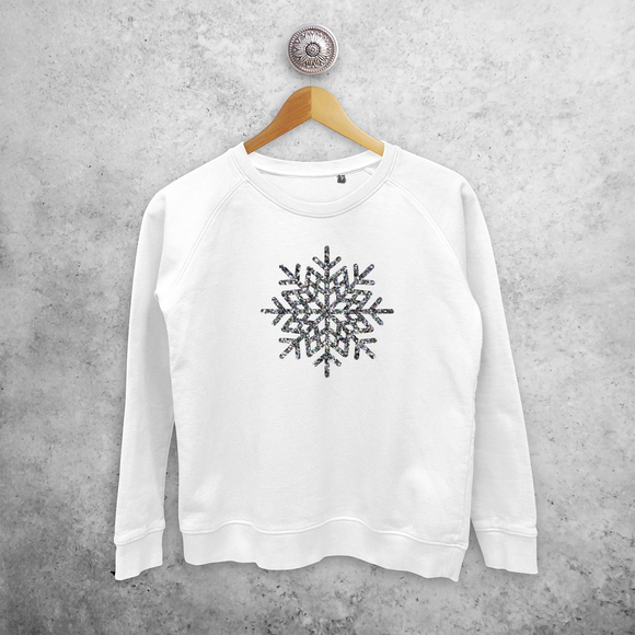 Adult sweater, with glitter snow star print by KMLeon.