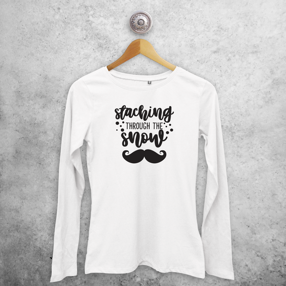 Adult shirt with long sleeves, with 'Staching through the snow' print by KMLeon.