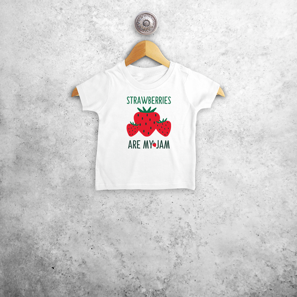 'Strawberries are my jam' baby shortsleeve shirt