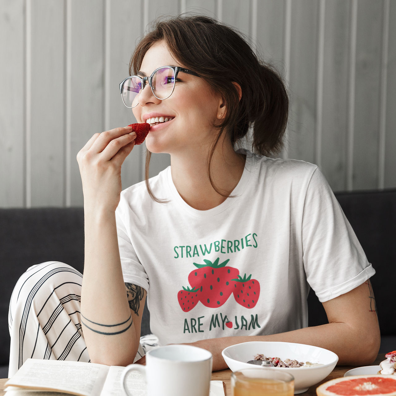 'Strawberries are my jam' adult shirt