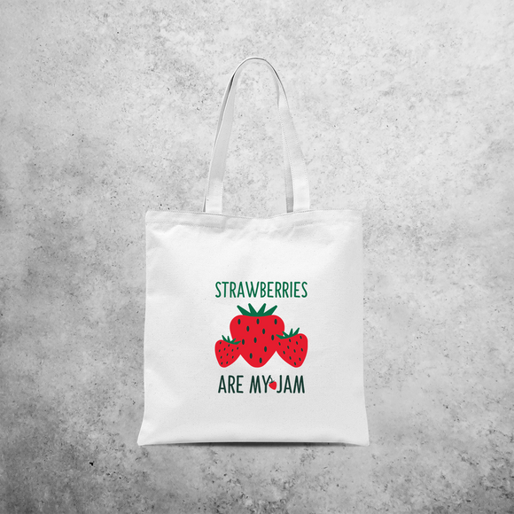 'Strawberries are my jam' tote bag
