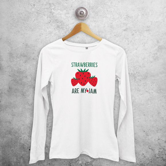 'Strawberries are my jam' volwassene shirt met lange mouwen