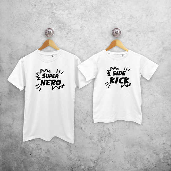'Super hero' & 'Side kick' matching shirts