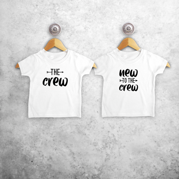 'The crew' & 'New to the crew' baby sibling shirts