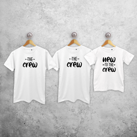 'The crew', 'The crew' & 'New to the crew' matching shirts