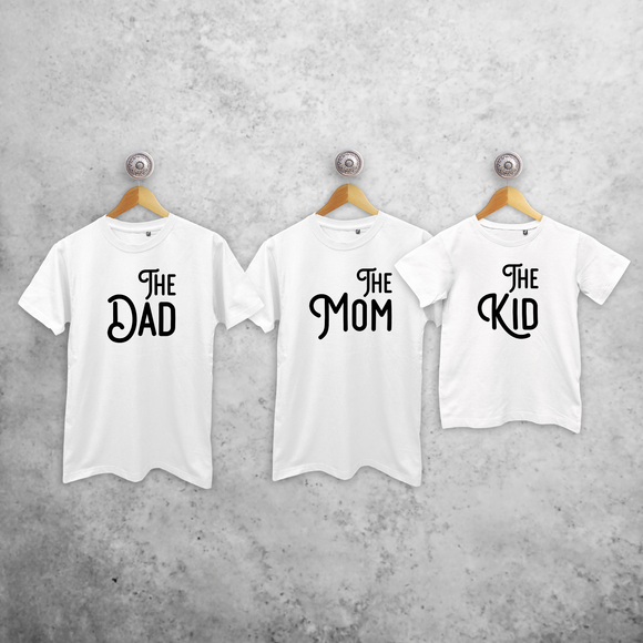 'The Dad', 'The Mom' & 'The Kid' matching shirts