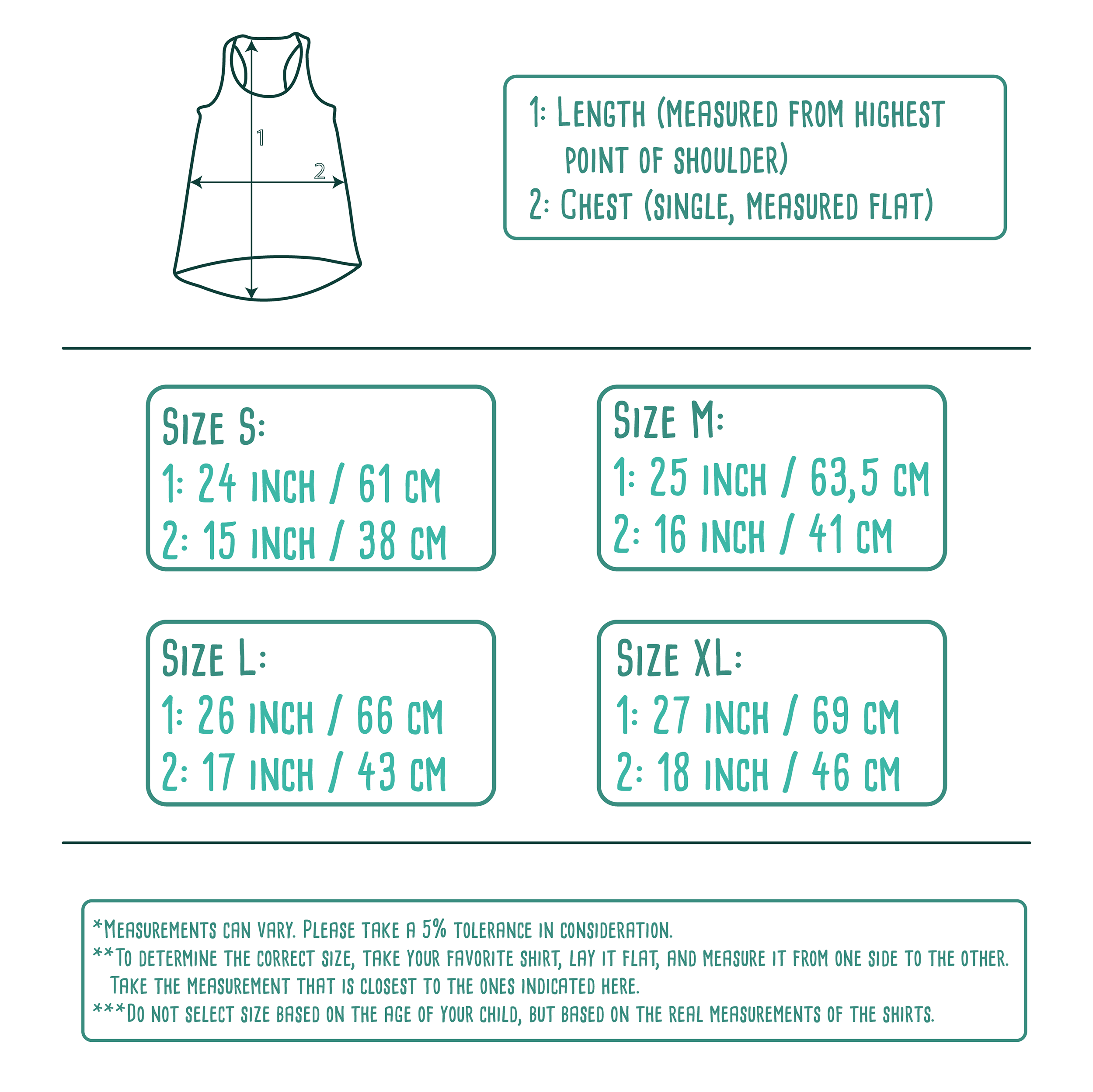 Size table for adult tank tops by KMLeon.