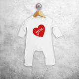 Big heart baby romper
