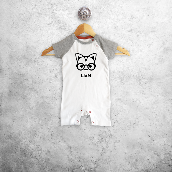 Fox with glasses baby shortsleeve romper