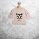 Fox with glasses baby sweater