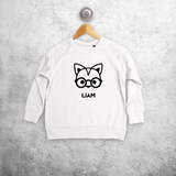 Fox with glasses kids sweater