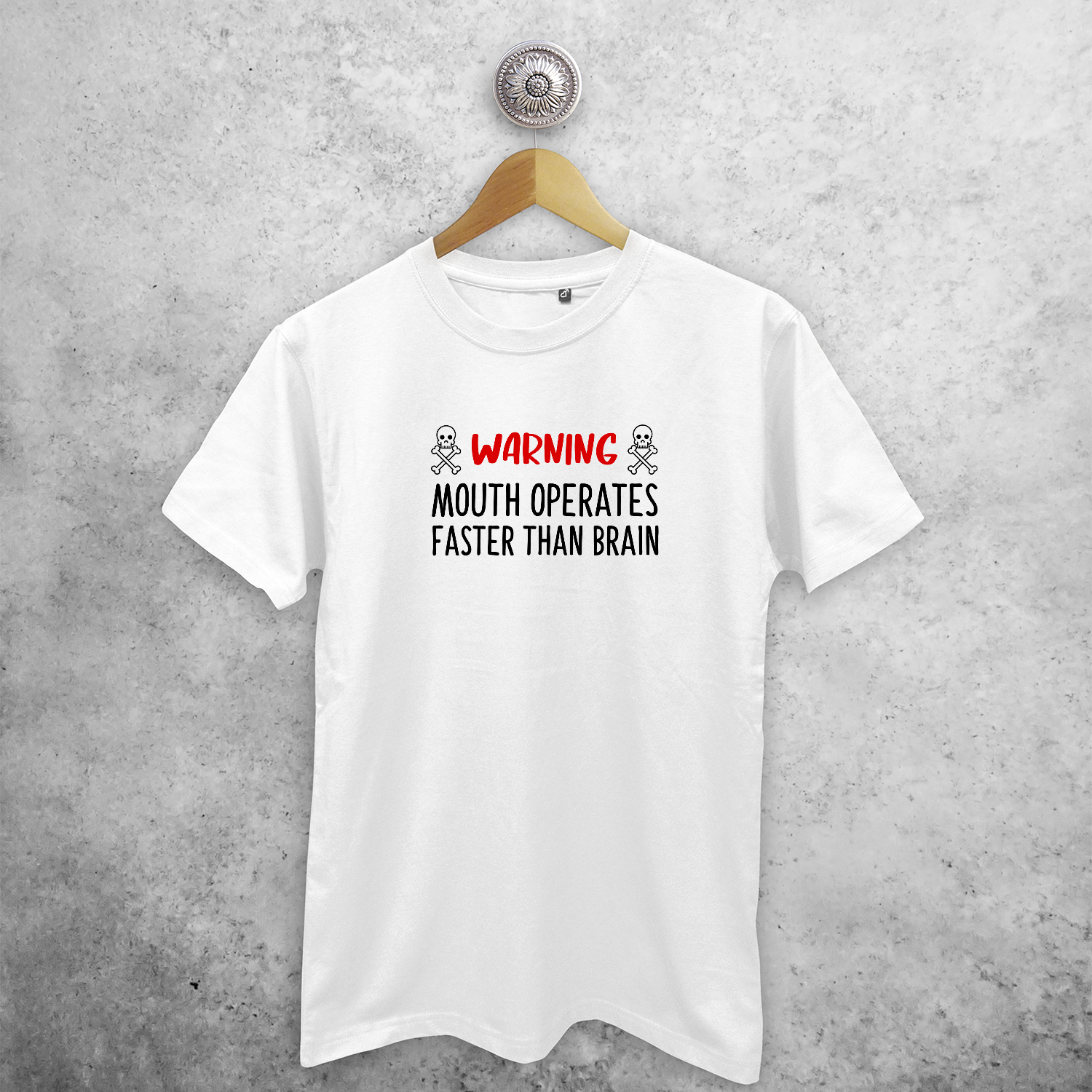 'Warning: mouth operates faster than mouth' adult shirt