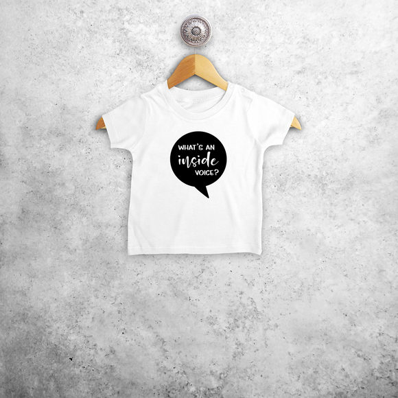 'What's an inside voice?' baby shortsleeve shirt