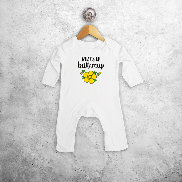 'What's up buttercup' baby romper met lange mouwen