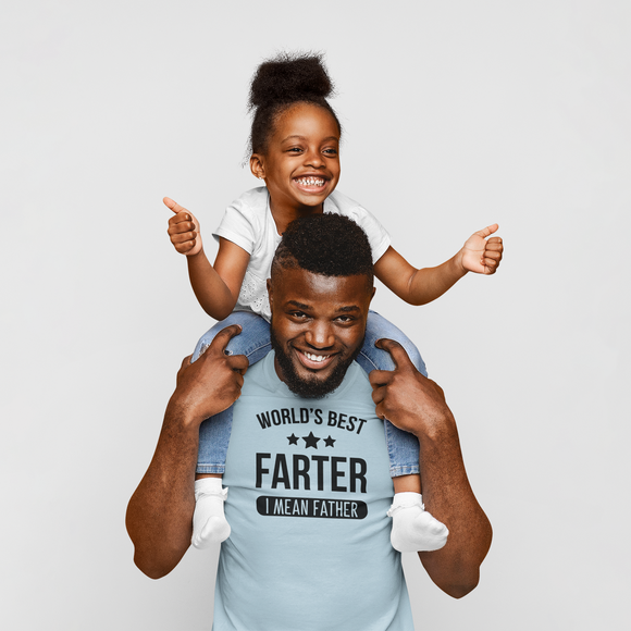 'World's best farter - I mean father' adult shirt