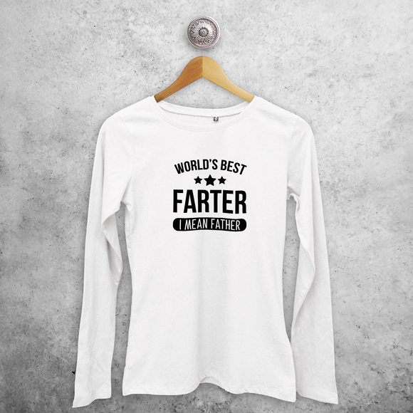 'World's best farter - I mean father' volwassene shirt met lange mouwen