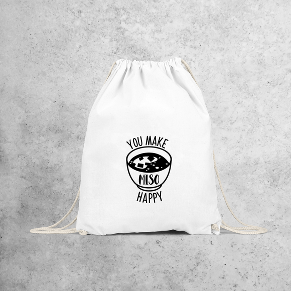 'You make miso happy' backpack