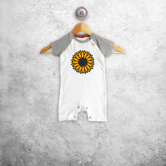 Sunflower baby shortsleeve romper