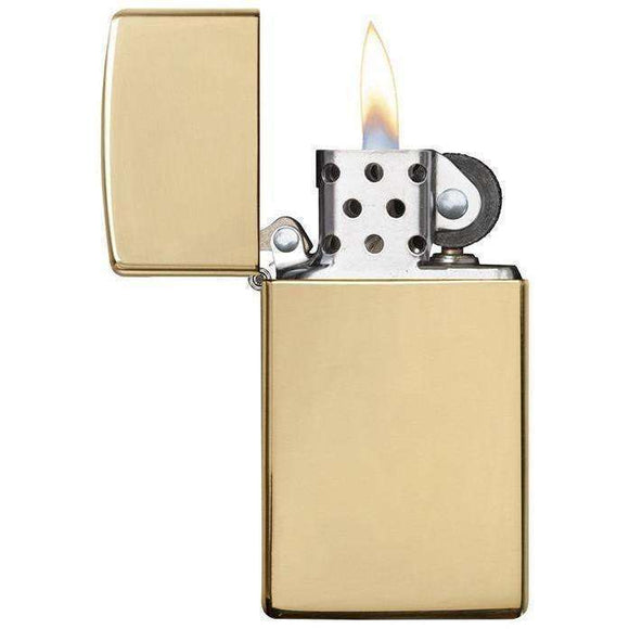 Slim Solid Brass Zippo Lighter