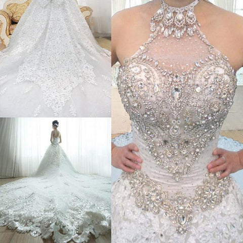 Luxury 2016 Newest Royal train Crystals Lace Wedding gown