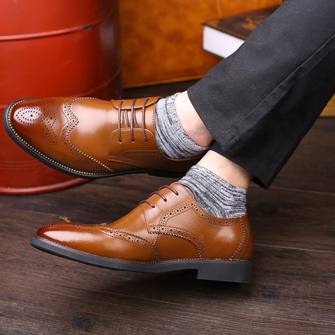 2018 New Spring Men Flats Bullock Derby Dress Shoes Genuine Leather