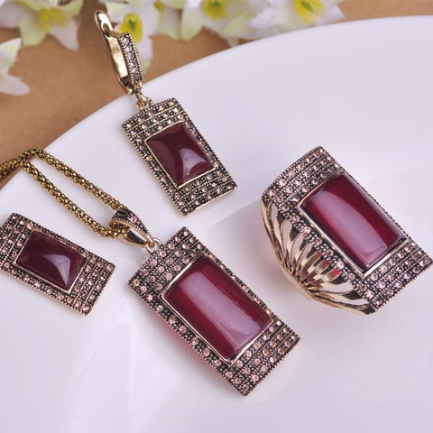 Antique Gold Plated Square Red Pendant Necklace Earring Ring Set Princess Hooks Earrings Wide Rings