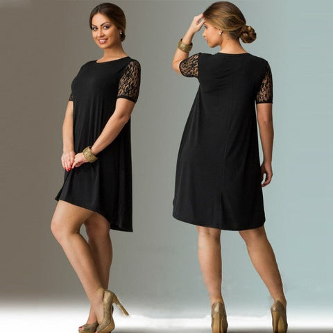 Plus Size Lace Sleeve Mini Summer Dress A-Line Black Loose Casual Dress Vestidos