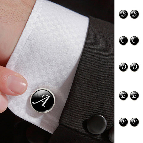Fashion Jewelry Men Cufflinks Alphabet Single Letter Black( Order more than 1 letter cuff-link pls add what letters in additional information field).