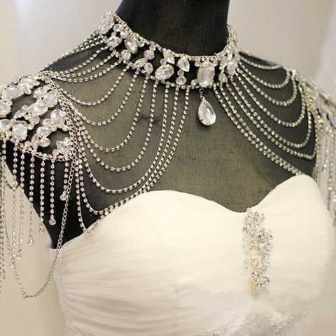 Elegant Alloy Silver Wedding Jewelry Shoulder Decorated Party 2018