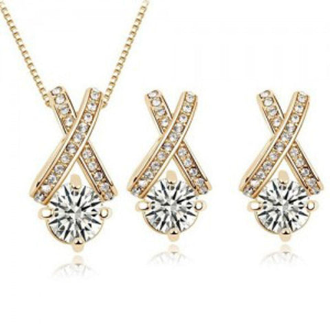 hearts and arrows zircon stud earring necklace set