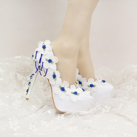 Beautiful White Satin Wedding Shoes with Blue Lace FLower Bridal