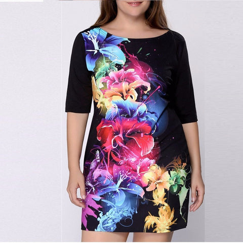 Plus Size Women Dress Print Dress Black Casual Mini