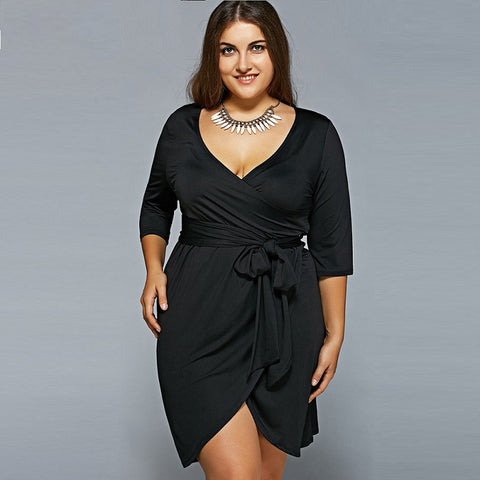 Plus Size Women Clothing Dress Midi 6XL Black Dress 5XL Party Summer Dress
