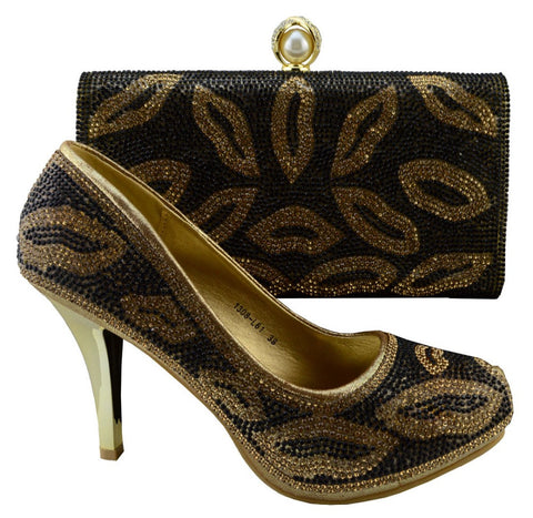 New Shoes and Bag Gold Designer Shoe and Bag Sets