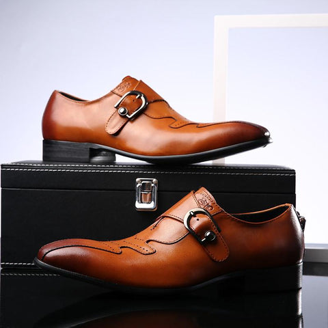 Italian Stylish Mens Wedding & Casual Business Formal Dress Brown Shoes