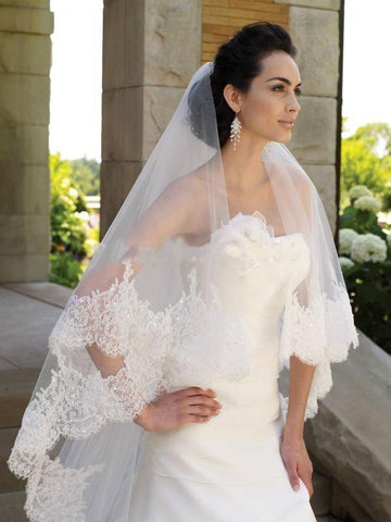 3-meter (total length)Two Layers Elegant Luxury Long Wedding Veil Bridal Veils Lace Veil with Comb