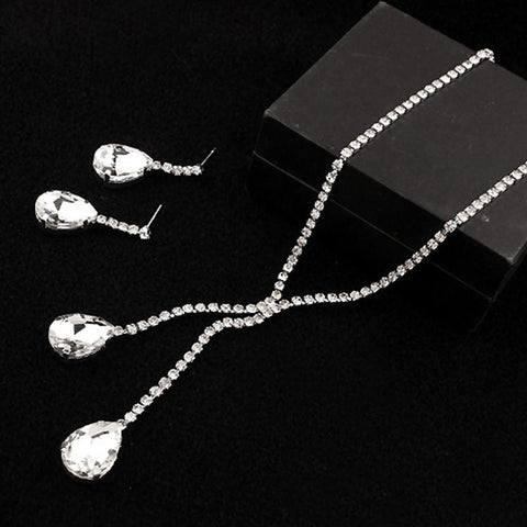 Big Drop Crystal Earring Necklace Set