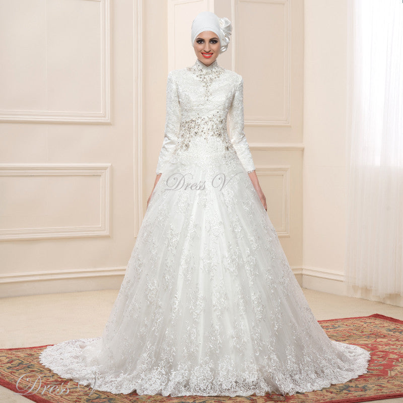 69b8dcc00e Lace Ball Gown Long Sleeve Muslim Wedding Dresses Hijab 2018 – Sybnor  Cou tour