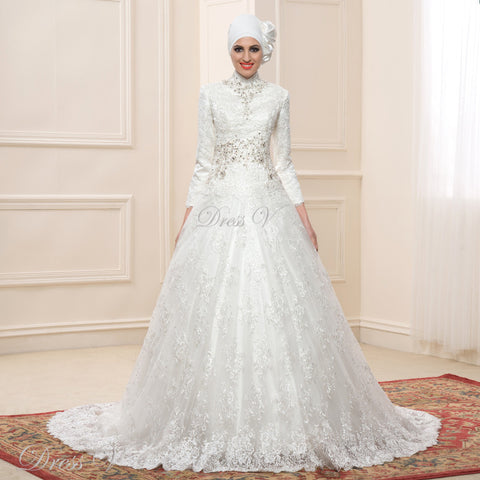Lace Ball Gown Long Sleeve Muslim Wedding Dresses Hijab 2018