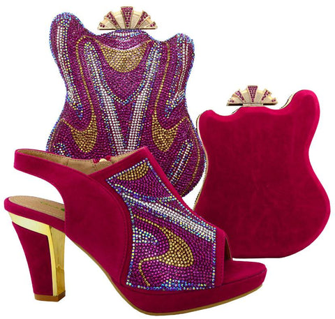 High Quality Wedding Shoes With Matching Bags Set With Rhinestones Fashion