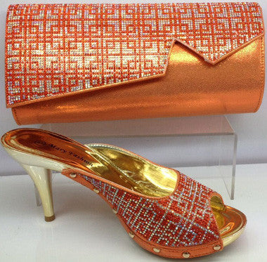 Sandals Party Pumps  Matching Shoe and Bag Set in orange