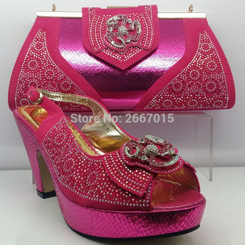 New Fuchsia Wedding Shoe Matching Shoe and Bag Sets